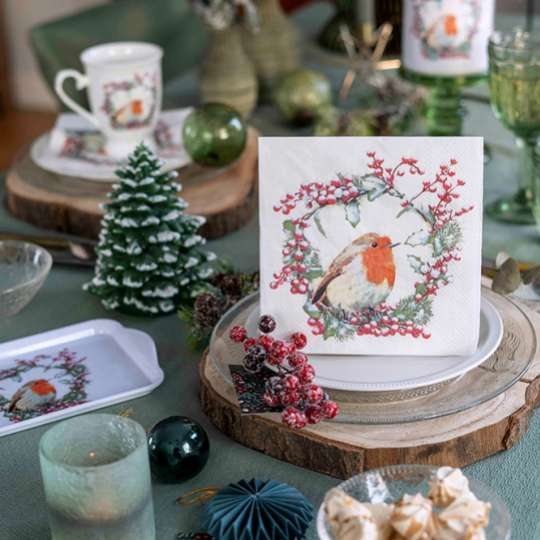 Tischdekor Robin in Wreath