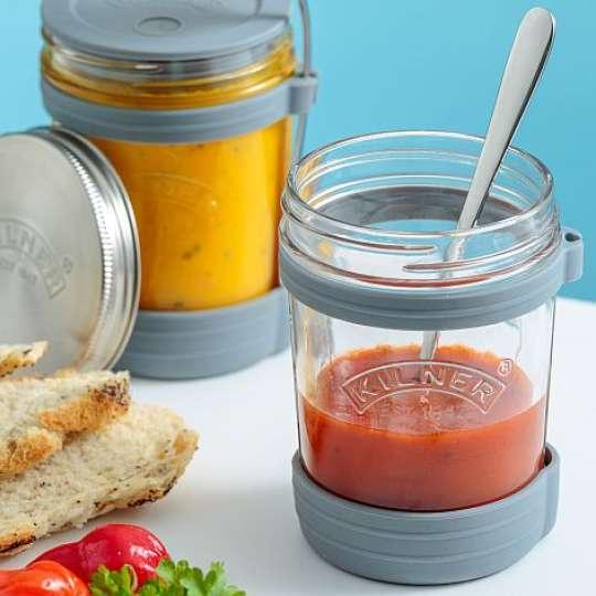 Suppenglas mit Deckel und Löffel