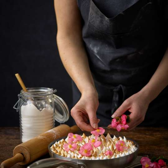 Zitronentarte - Pinke Blüten