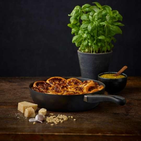 Pesto-Schnecken aus der Pfanne